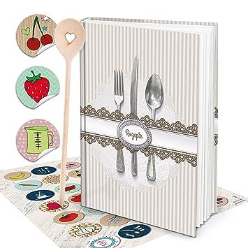 XXL libro de recetas escribir vintage Cubertería Shabby Chic libro de cocina Incluso escritura con cuchara