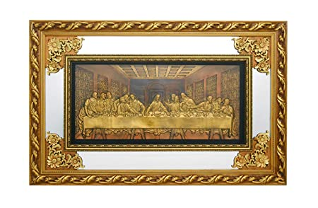 The Last Supper – Christian Wall Hanging Ornate Gold Wood Frame with Mirror and Glass 1348