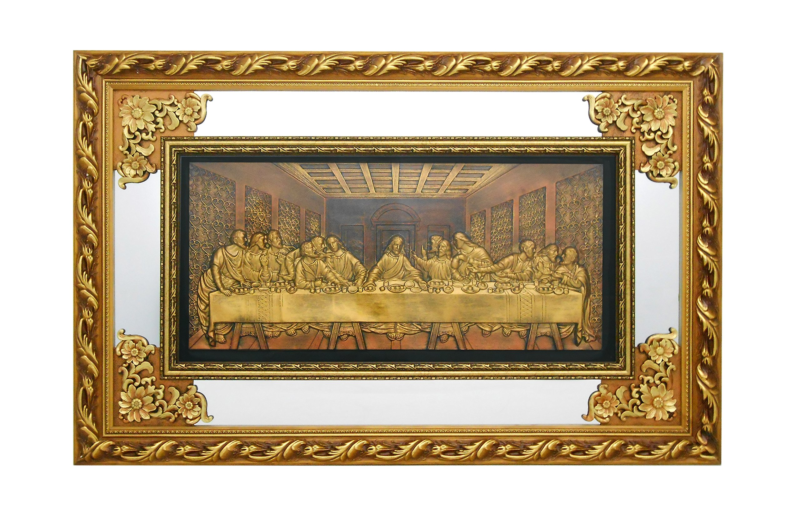 The Last Supper - Christian Wall Hanging Ornate Gold Wood Frame with Mirror and Glass # 1348 by Nabil's Gift Shop