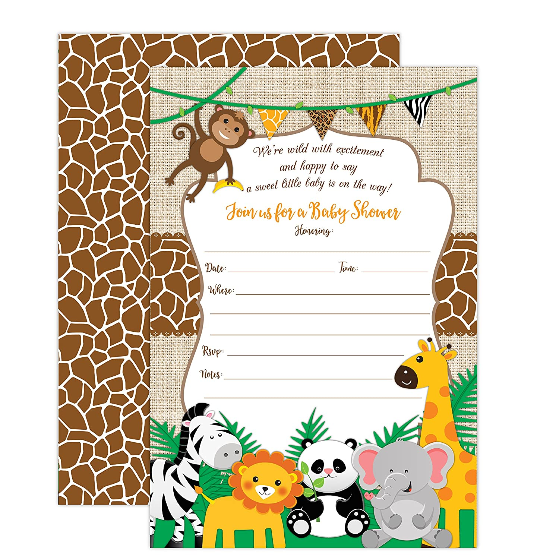 Amazon.com: Jungle Safari Baby Shower Invitations, Safari Animal Invitation,  20 Fill in Invitations and Envelopes, Boy or Neutral Baby Shower Party,  Monkey, ...
