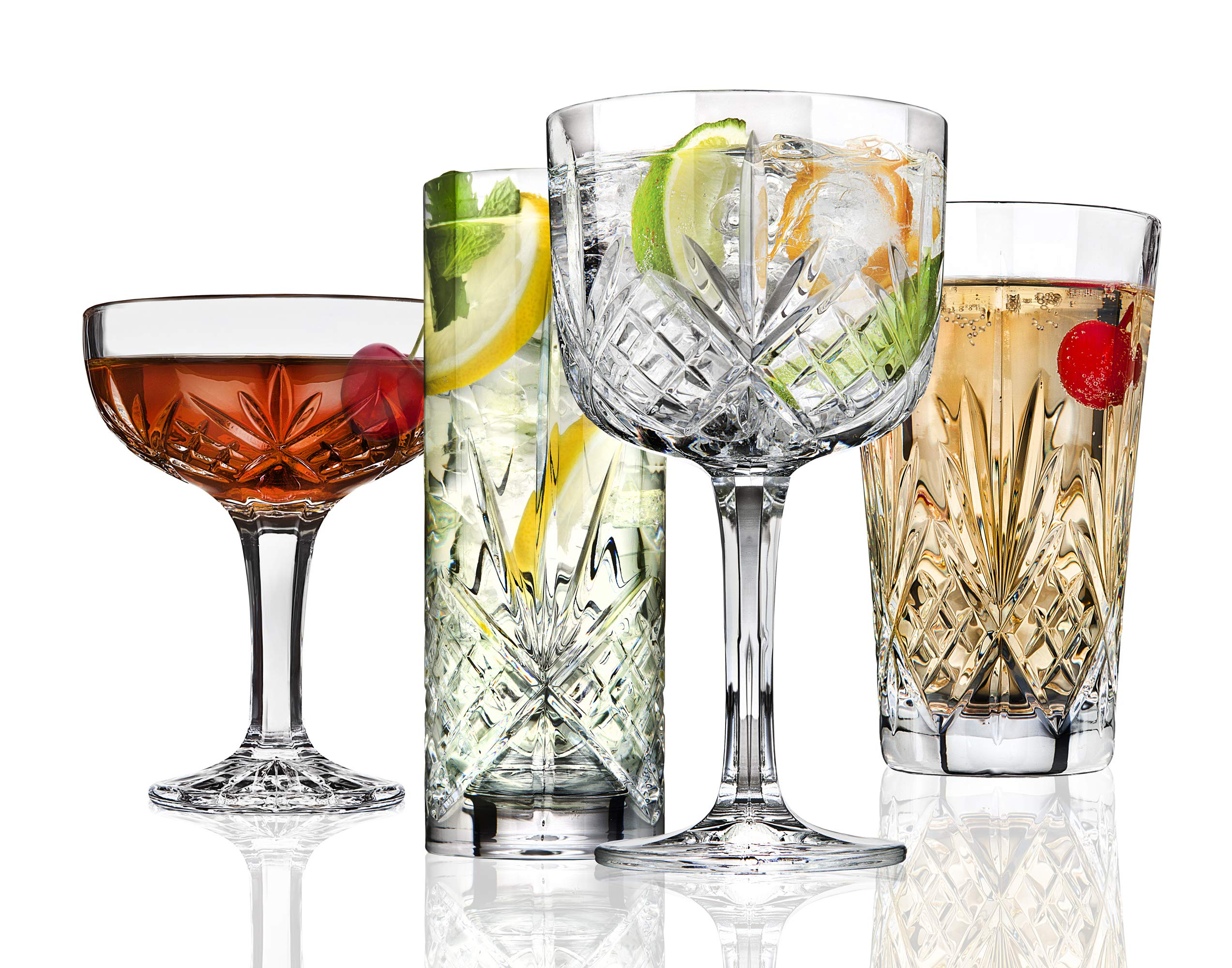 Godinger Barware Drinkware Mixology Set - Gin Glasses, Collins Tall Glasses, Bar Cups and Champagne Coupes - 8 pieces