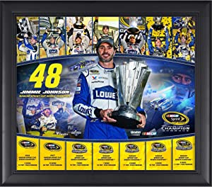 """Jimmie Johnson Framed 15"""" x 17"""" 2016 Sprint Cup Champion 7-Time NASCAR Champion Collage - NASCAR Driver Plaques and Collages"""