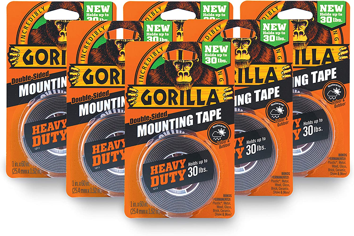 """Gorilla Mounting Tape Heavy Duty Indoor Outdoor Up To 30 lbs 1/"""" x 60/"""""""