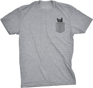 Amazon.com: Mens Pocket Cat T Shirt Funny Printed Peeking Pet ...