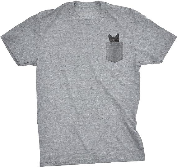 e58d35676a34 Mens Pocket Cat T Shirt Funny Printed Peeking Pet Kitten Animal Tee for Guys  (Heather