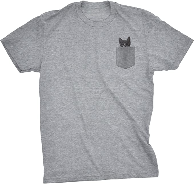 fd7d13b8befcc Mens Pocket Cat T Shirt Funny Printed Peeking Pet Kitten Animal Tee for  Guys (Grey