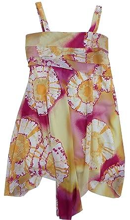 Amazon.com: Hype Girls Sleeveless Dress (8- Yellow/Magenta ...