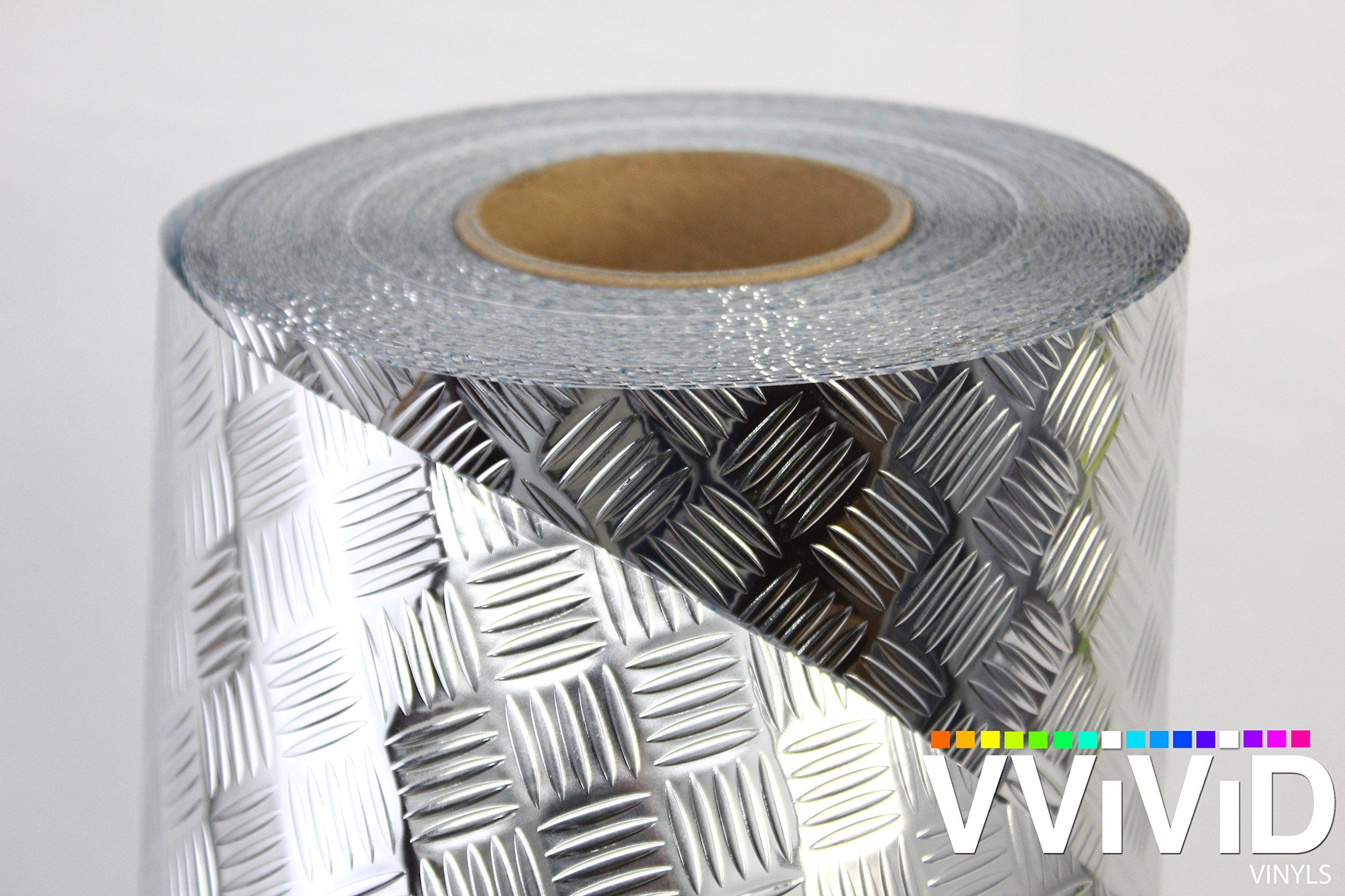 VViViD Metallic Industrial Diamond Plate Chrome Finish Self-Adhesive Vinyl Sheet Roll for Craft & Hobby Application (50ft x 17.8'')
