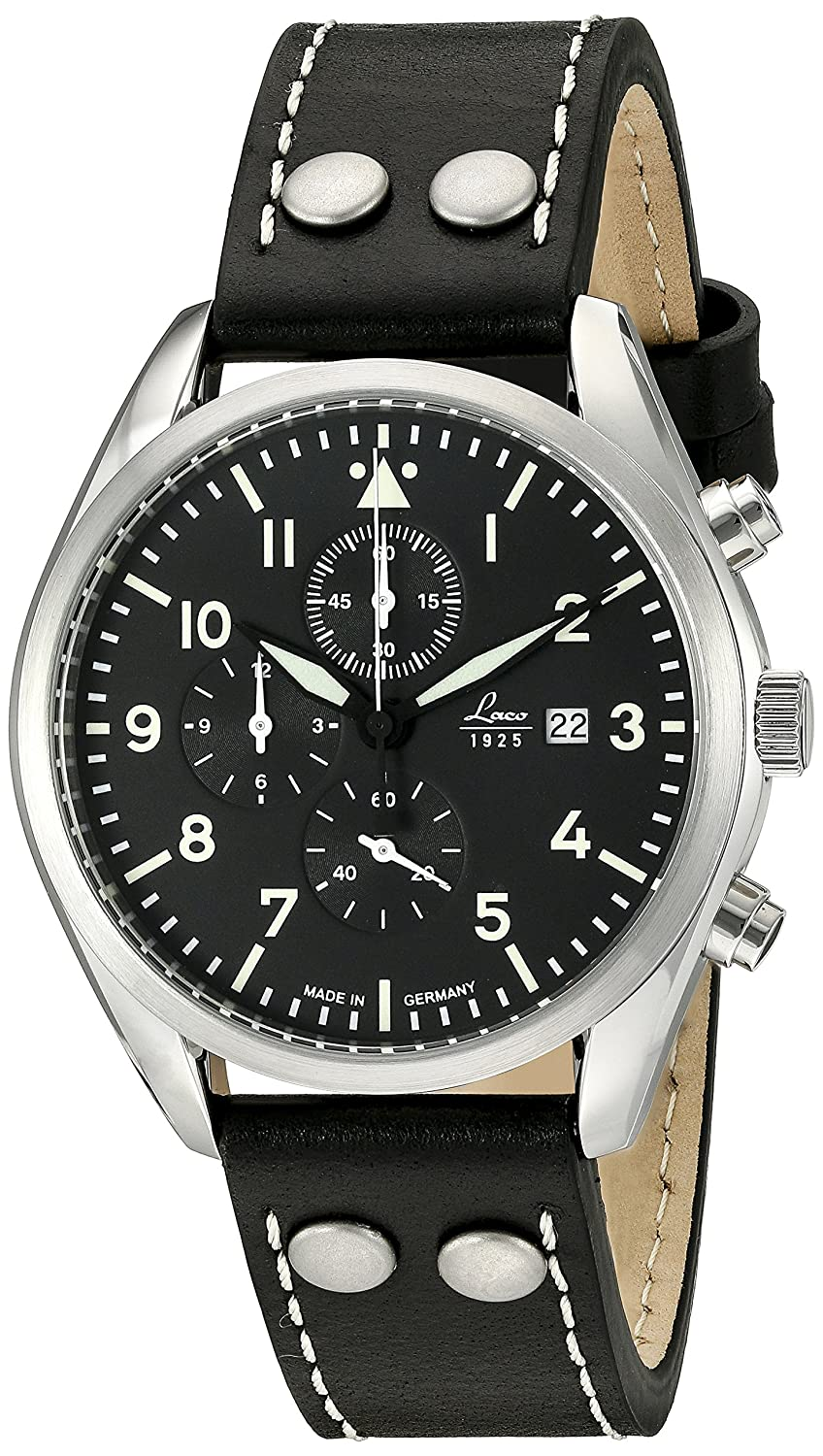 e73ff7a0e0ca Amazon.com  Laco 1925 Quartz Stainless Steel and Black Leather Casual Watch  (Model  861915)  Watches
