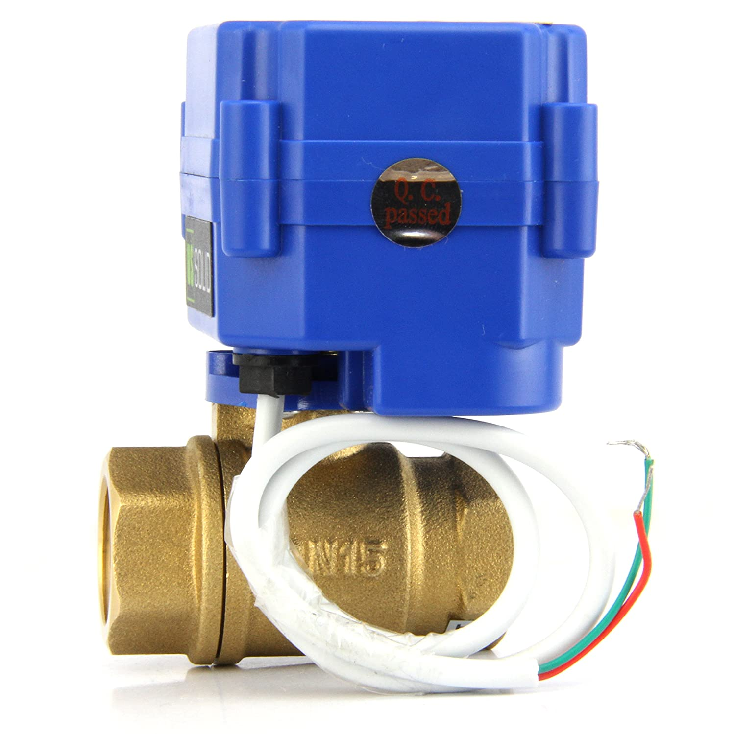 9-24V AC//DC and 2 Wire Auto Return Setup by U.S Solid Motorized Ball Valve 3//4 Brass Ball Valve with Standard Port