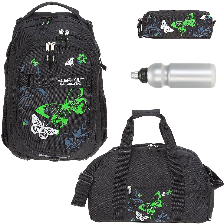 4 Teile Set ELEPHANT Schulrucksack Hero Signature + Sporttasche + Mäppchen + Flasche Motiv 12679 (Butterfly Black Green)