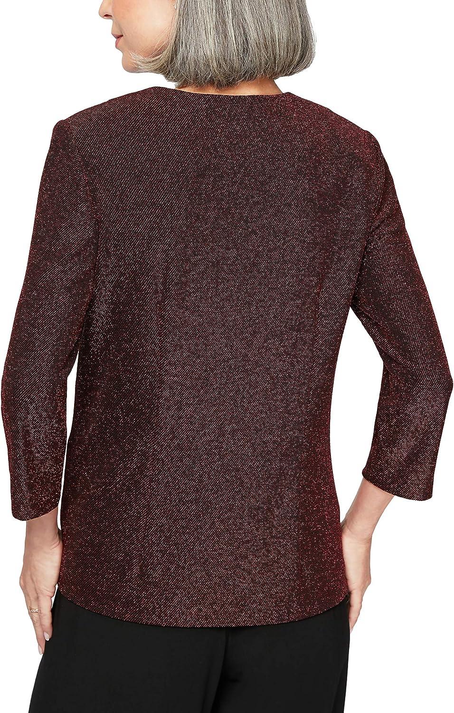 Alex Evenings Womens Plus Size Metallic Twinset Tank Top and Jacket