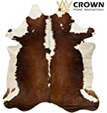 6ft x 7ft Brown and White Cowhide Rug | Cowhide Area Rugs by Crown Home Innovation | 100% Natural Leather Rugs (Brown and White)