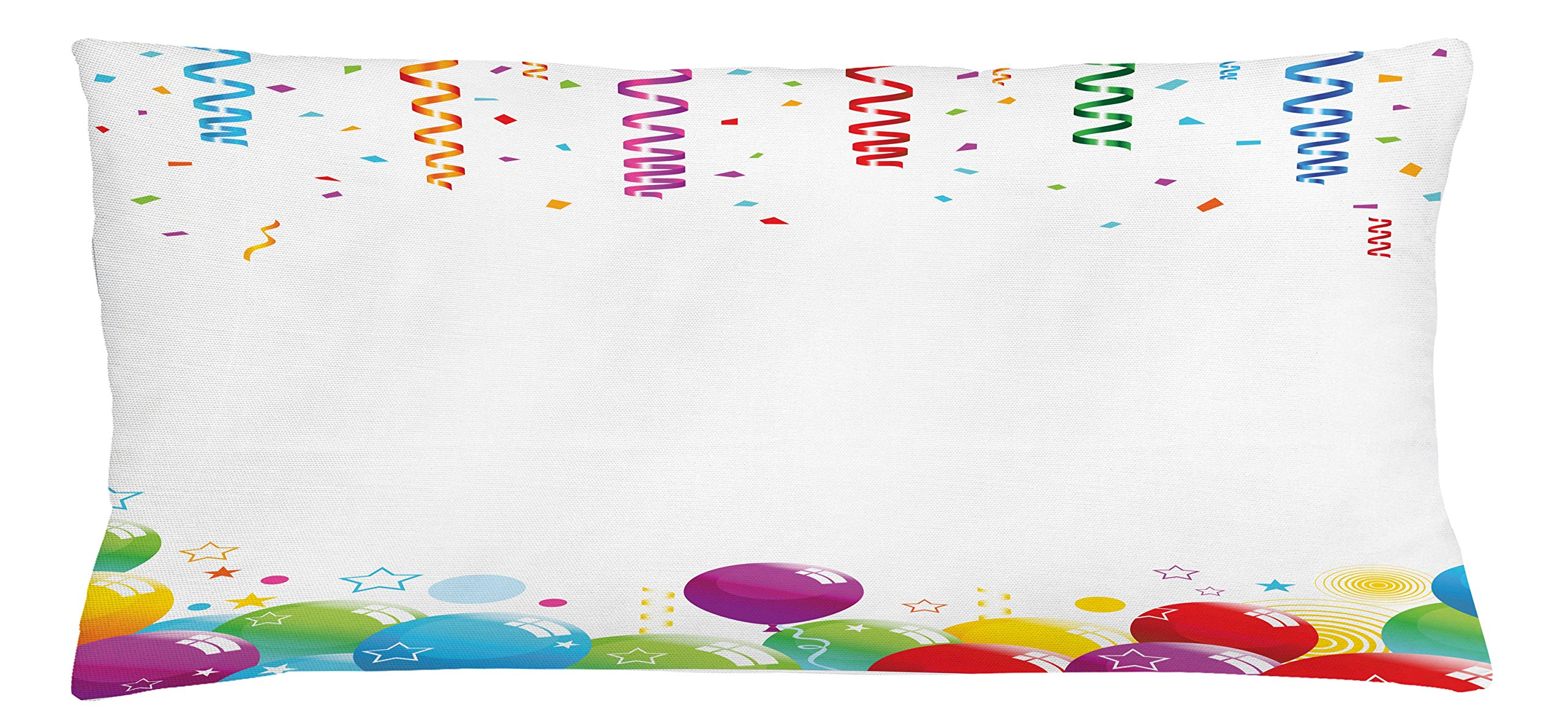 Ambesonne Kids Party Throw Pillow Cushion Cover, Confetti Rain with Curls and Balloons Stars Dots Joyful Happy Greeting Concept, Decorative Square Accent Pillow Case, 36 X 16 inches, Multicolor