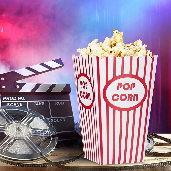 Relaxdays - Palomitas Bolsas, 48 Unidades, Rayas, US de 302095, Cine, Noche de película Accesorios, cumpleaños Infantil, cartón, Rojo/Blanco, ...