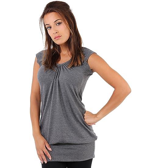 KRISP Damen Basic Longshirt Oberteil T-Shirt Top