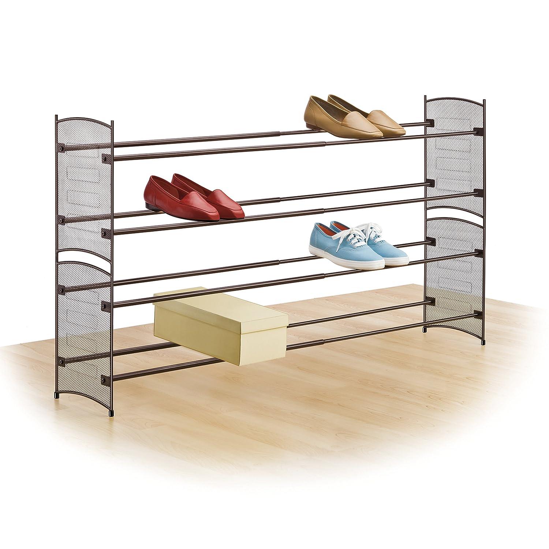 146102 Platinum Inc Steel Mesh Shoe Shelf Lynk Expandable 2 Tier Stackable Shoe Rack