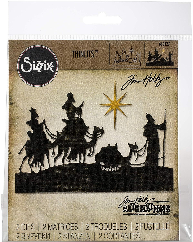 5 1//4 x 2 3//4-1 1//2 x 2 1//4 Multicolor Sizzix 663127 Thinlits Dies Wise Men by Tim Holtz 2-Pack