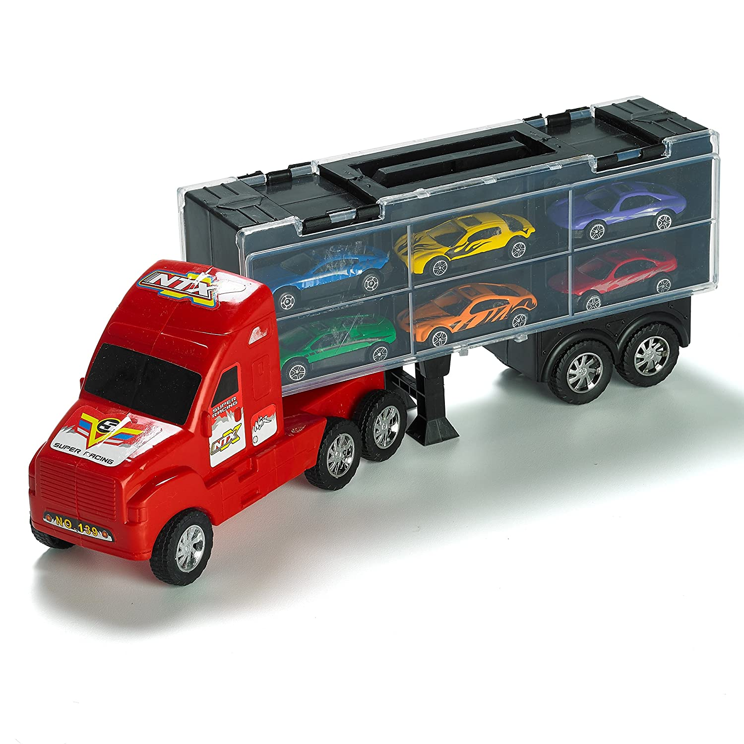Toy Car Rack : Quot carrier truck toy car transporter includes metal