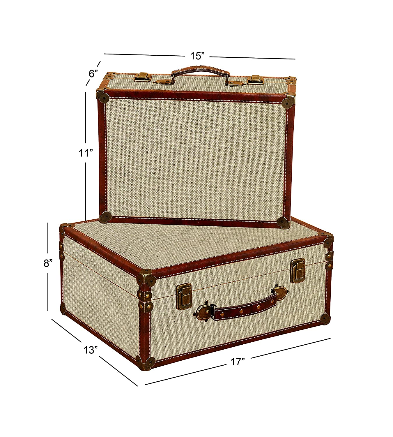 Deco 79 Wood Burlap Box 17 by 15-Inch Set of 2 Deco Seventy-Nine 62240