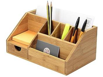 Organiseur de fournitures de bureau en bambou: amazon.fr