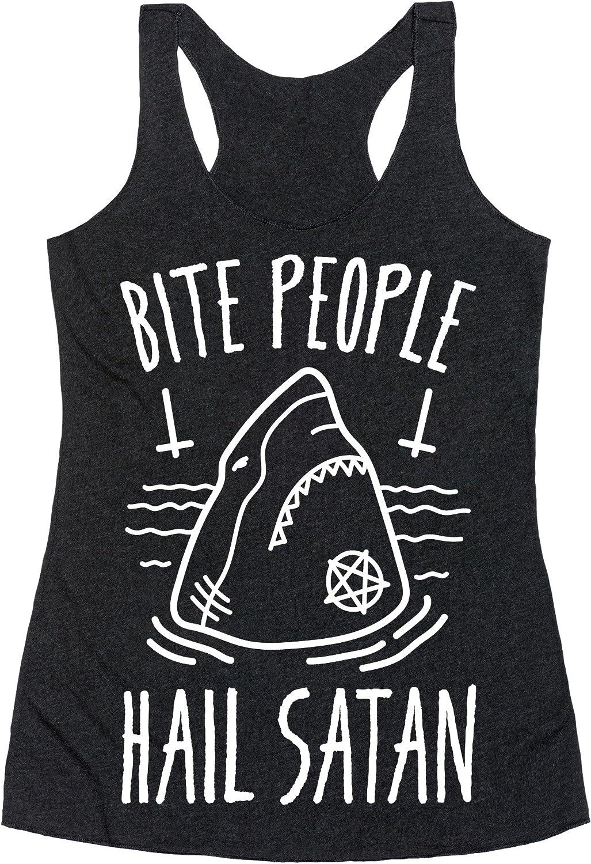 LookHUMAN Bite People Hail Satan - Shark (White) Heathered Black Women's Racerback Tank