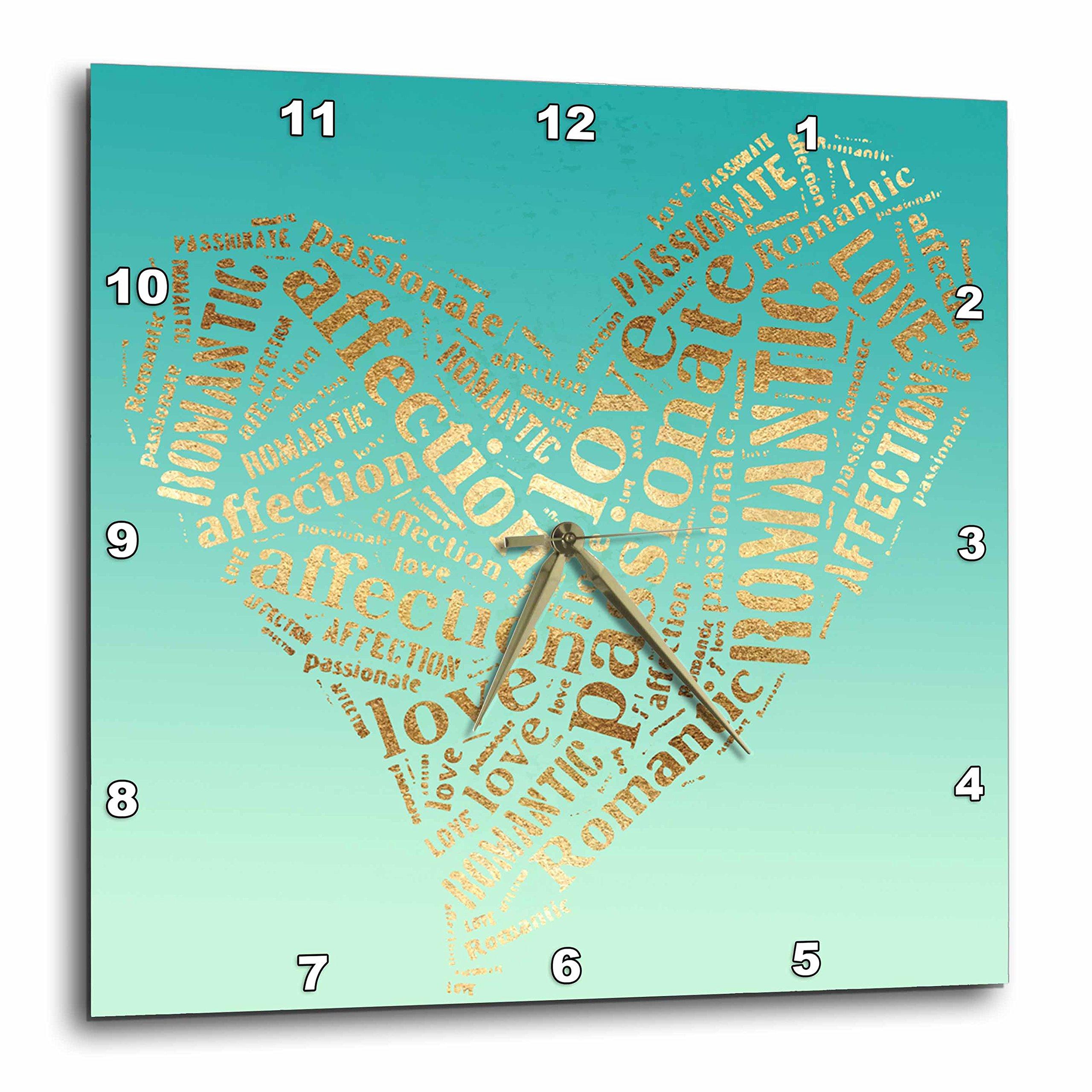 3dRose PS Inspiration - Image of Mint Green Gold Inspirational Words Heart - 10x10 Wall Clock (dpp_280736_1)