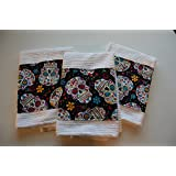 Handmade Set of 3 White Kitchen Dish Towels Sugar Skulls Day of the Dead