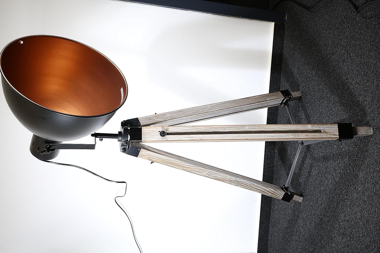 STATIV STEHLEUCHTE STUDIOLAMPE STEHLAMPE SPOT Schwarz//Gold Lampe H/öhe:95-143cm 605455 Retrolampe Tripod