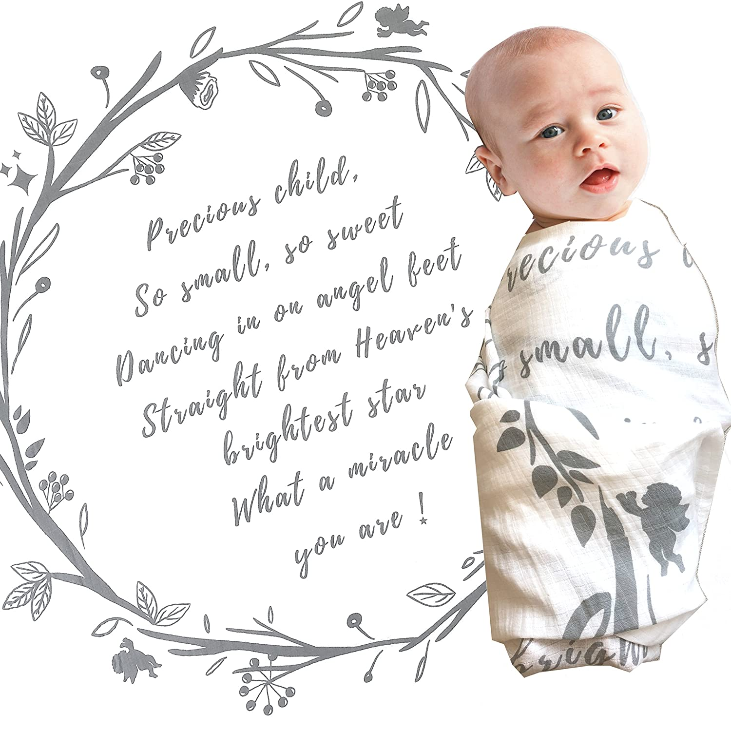 Amazon.com  Baby Swaddle Blanket with Baby Quote – 100% Organic Cotton  Muslin Swaddle Wrap with Angel Poem for Baby Shower 076e0e517