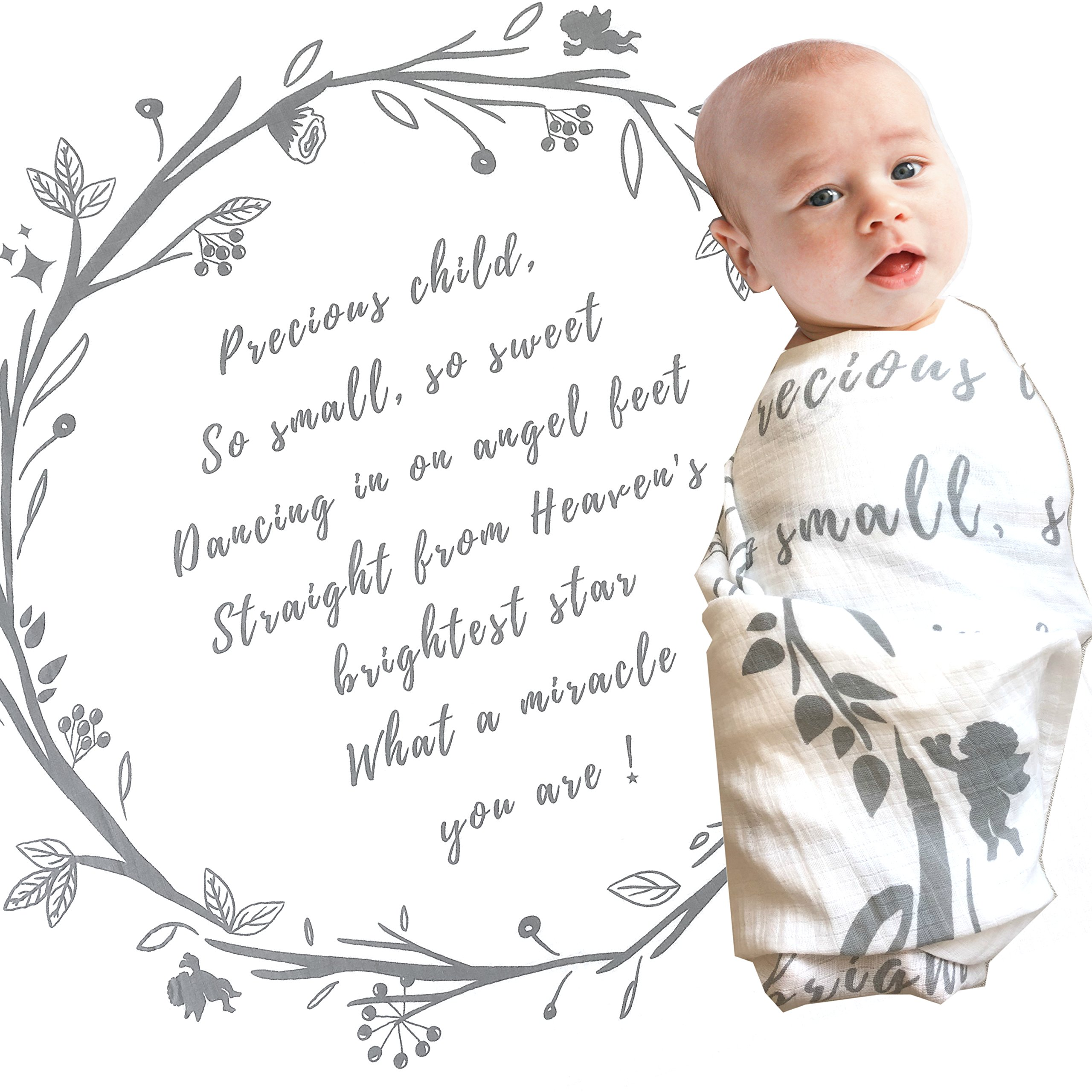 Baby Swaddle Blanket with Baby Quote – 100% Organic Cotton Muslin Swaddle Wrap with Angel Poem for Baby Shower, Christening Gift, Baptism Gift – Receiving Blanket, Privacy Throw by Majestic Baby