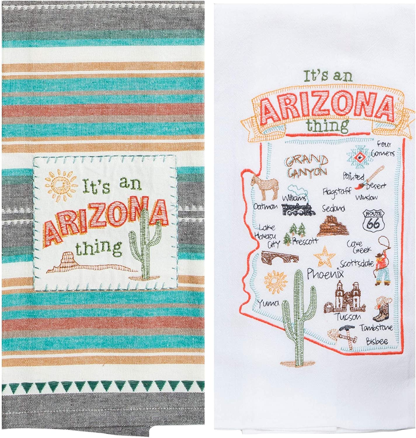 Kay Dee Designs Arizona Map Home State & Souvenir Embroidered Dish Towels, Bundle Set of 2 State of Arizona Kitchen Towels