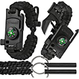 A2S 2 SHARP Paracord Bracelet 4pcs set Survival Gear Kit with Embedded Compass, Fire Starter, Emergency Knife & Whistle + 2X Fire-starters - EDC Knife Emergency Kit (Black/Black Adjustable Size)