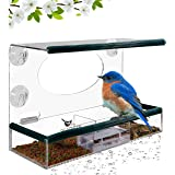 Birdious Window Bird Feeder – Enjoy Unique Watch Small & Large Birds. Clear See Through Birdhouse, Mounted By 4 Strong Suction Cups, Removable Tray, Squirrel Proof. Unusual Gifts for Kids, Bird Lovers