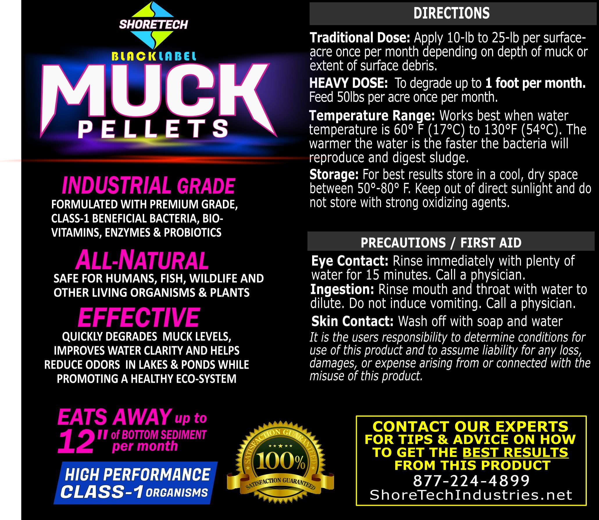 COMBO PACK - Muck Block & Commercial Grade Black Label Muck Pellets Lake & Pond by Water Land & Home