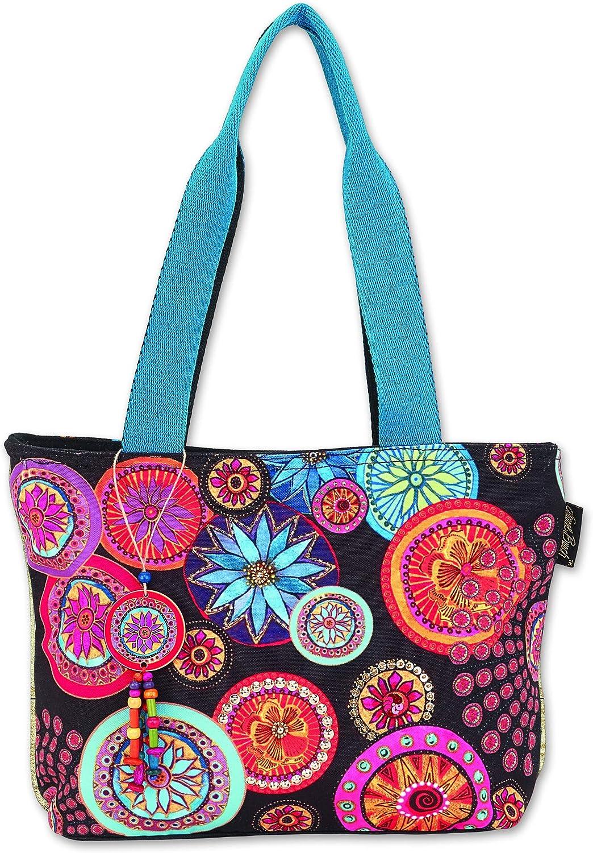 Laurel Burch Women's Circle Florals Medium Shoulder Bag Tote Style Handbag Purse