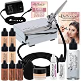 Belloccio Professional Beauty Airbrush Cosmetic Makeup System with 4 Fair Shades of Foundation in 1/4 Ounce Bottles - Kit Inc