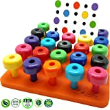Stacking Pegboard Set with Pattern Card by Skoolzy - Fine Motor Toy for Toddlers and Preschoolers Occupational Therapy Montessori Color Sorting