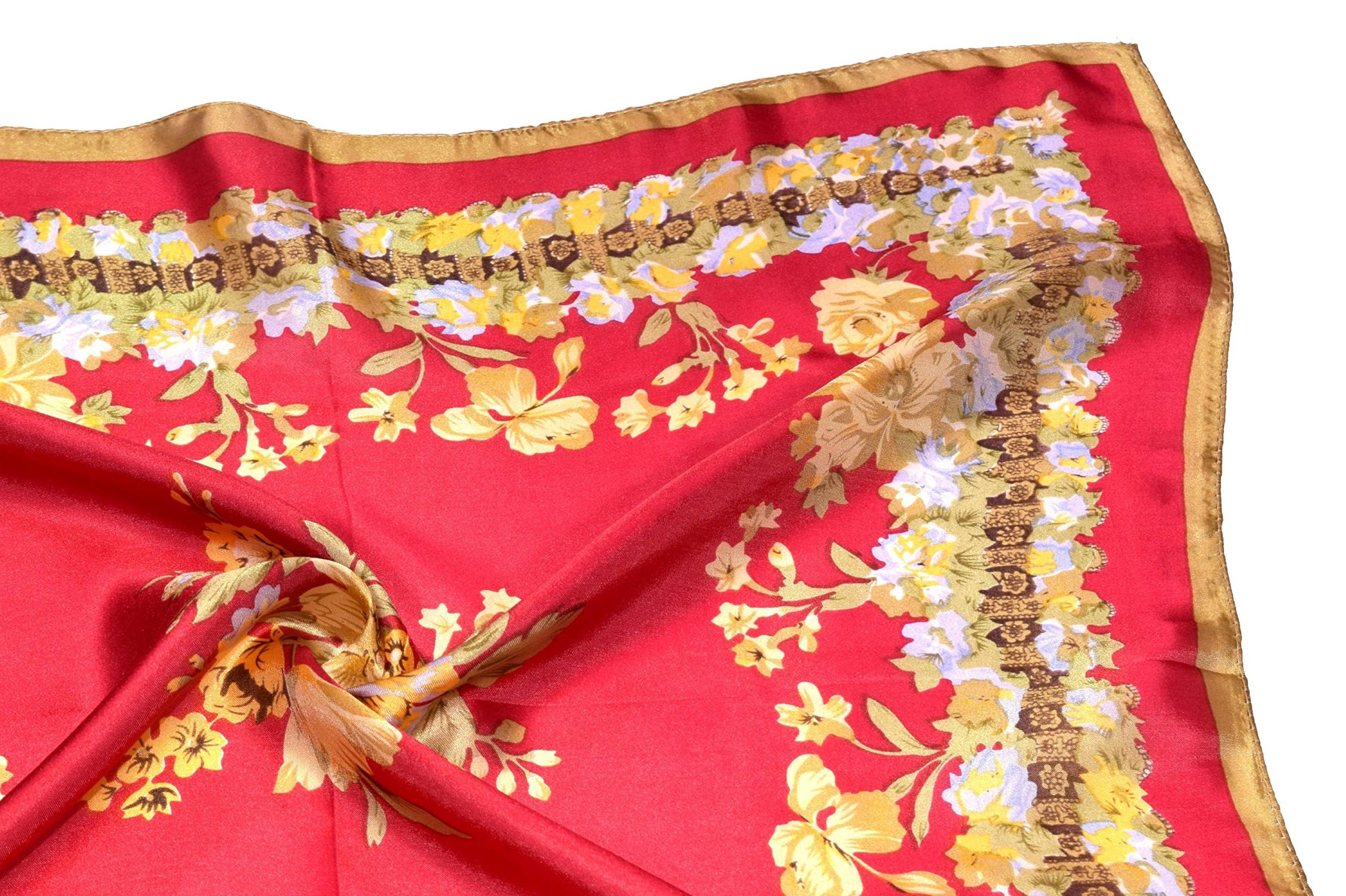Red Yellow Flowers Printed Small Square Fine Silk Scarf by Bees Knees Fashion (Image #6)