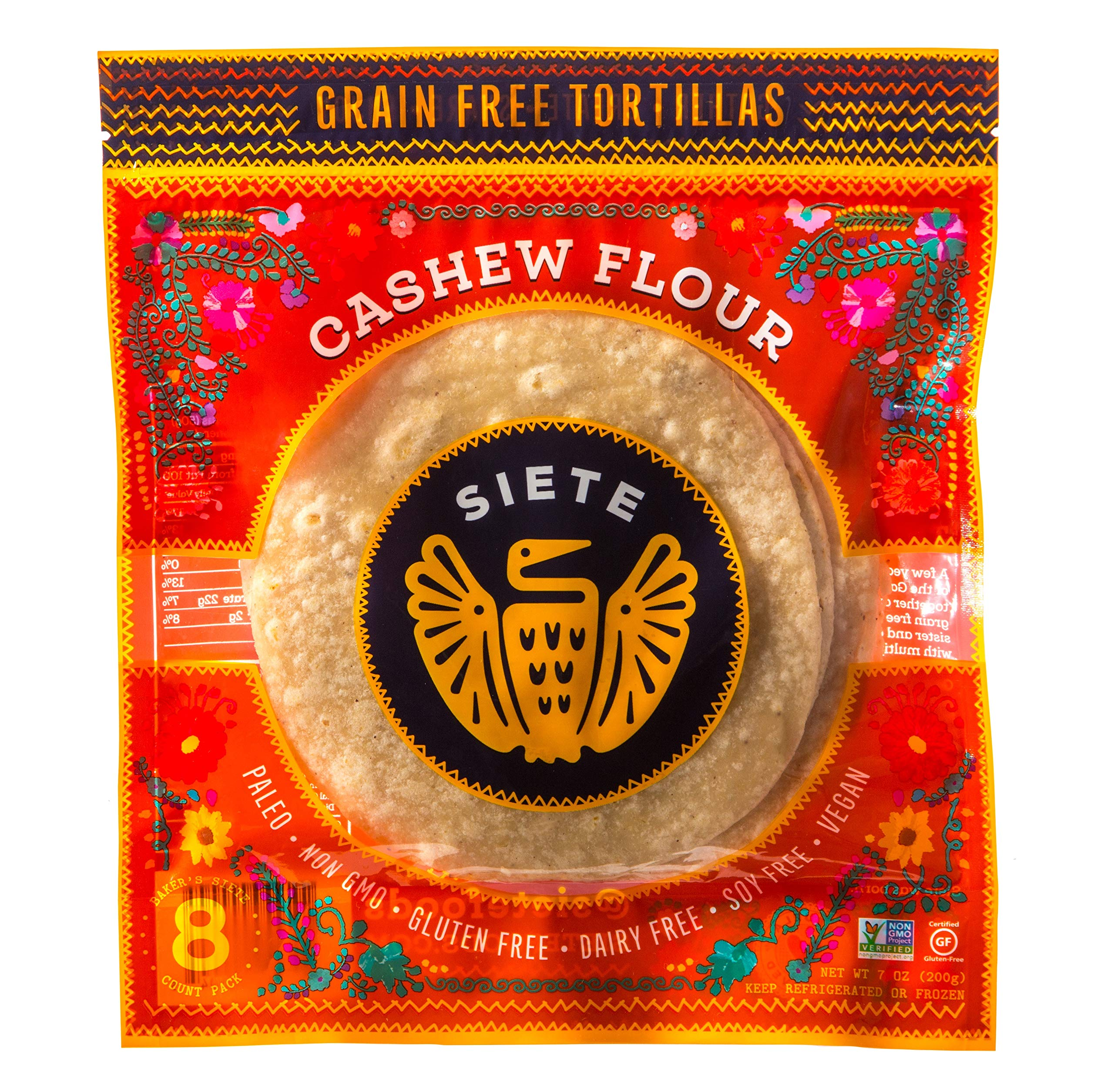 Siete Cashew Flour Grain Free Tortillas, 8 Tortillas Per Pack, 6-Pack, 48 Tortillas by Siete
