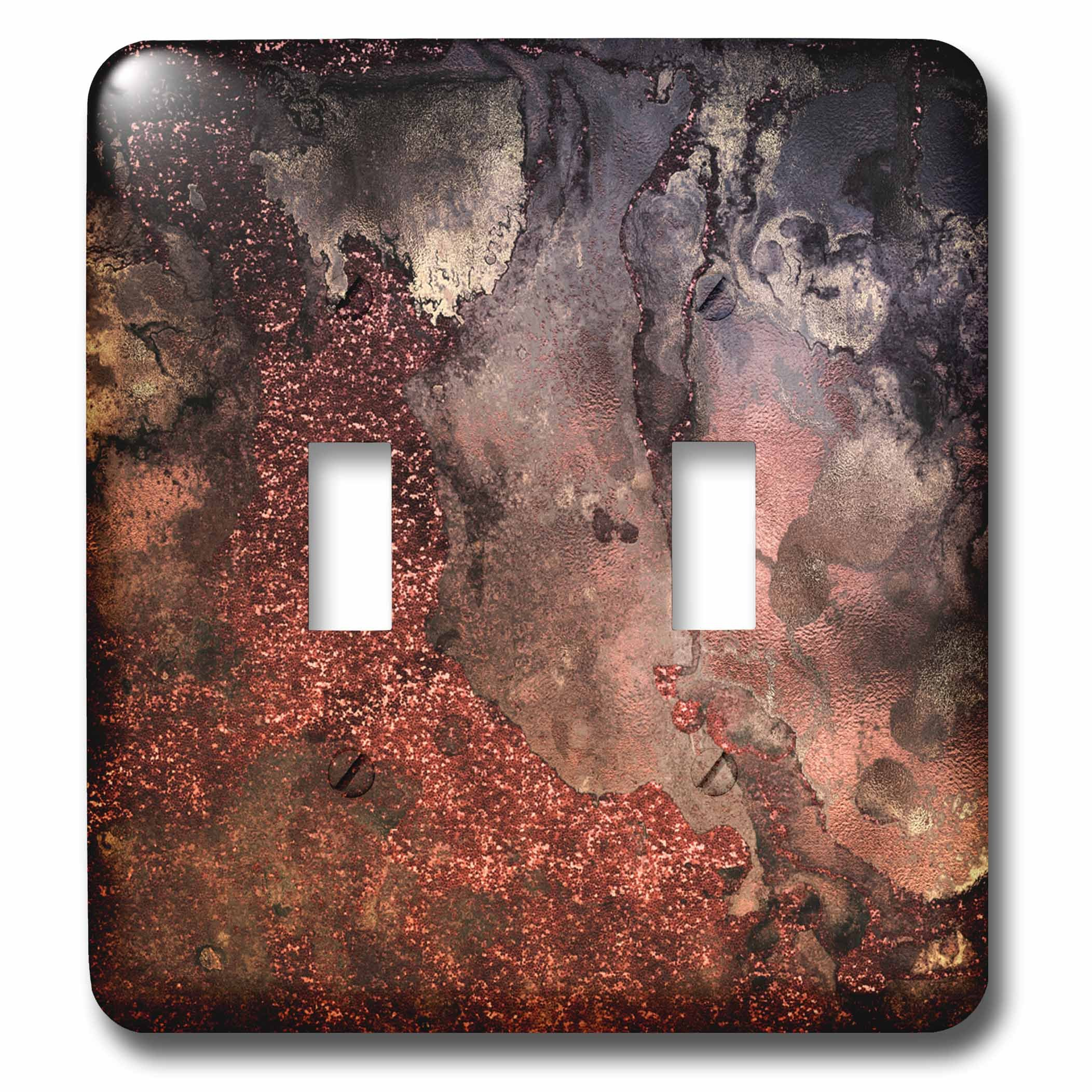 3dRose Uta Naumann Faux Glitter Pattern - Luxury Copper Ombre Gem Stone Marble Glitter Metallic Faux Print - Light Switch Covers - double toggle switch (lsp_269017_2) by 3dRose (Image #1)