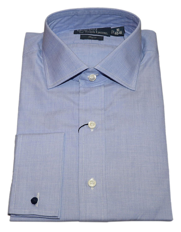 Ralph Lauren Polo Mens Regent French Cuff Dress Shirt Solid Blue 16
