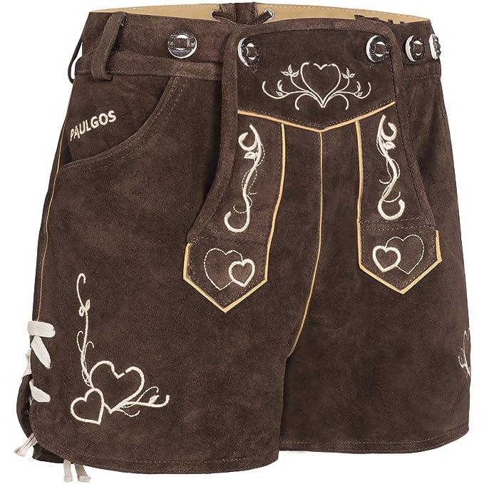 hohe Qualität neueste attraktive Farbe PAULGOS Damen Trachten Lederhose + Träger, Echtes Leder, Sexy Kurz,  Hotpants in 2 Farben Gr. 34-42 H2