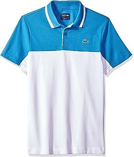 8ac871e915e8b Lacoste Men s Short Sleeve Pique with Colorblock   Jacquard Collar with  Contrast Polo