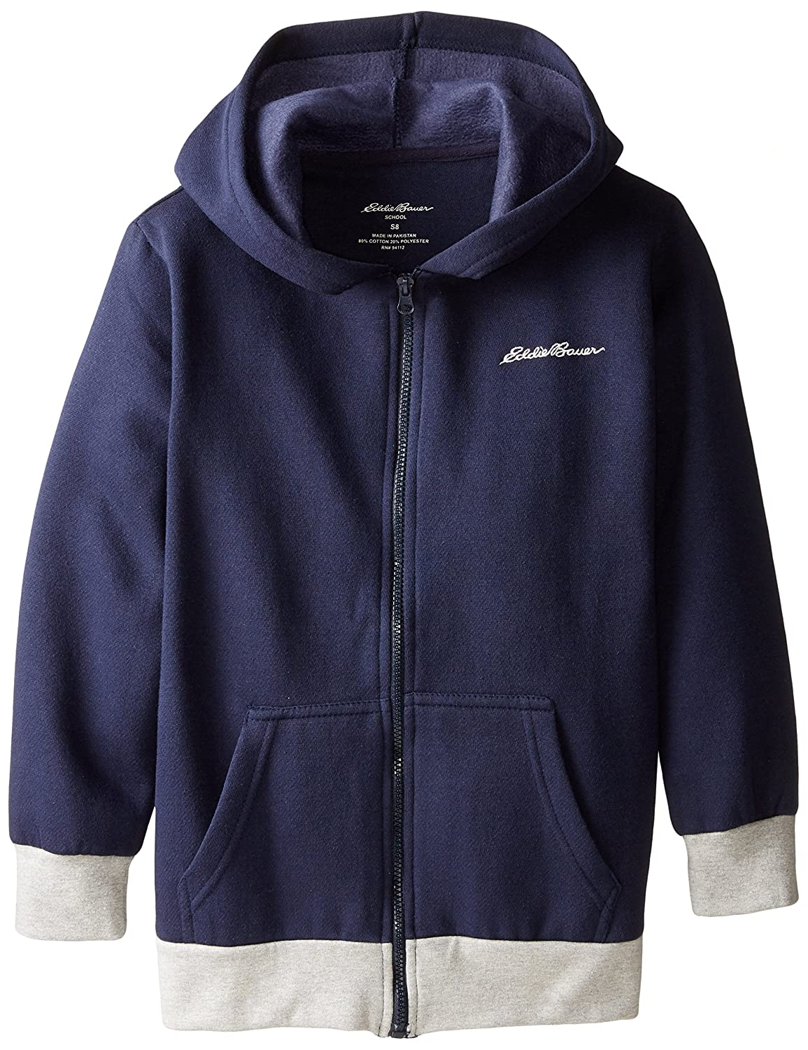 Eddie Bauer Boys' Fleece Hoodie (More Styles Available), Navy White Hem, 14/16 Eddie Bauer Uniforms Boys 8-20 F7UY26NAEB