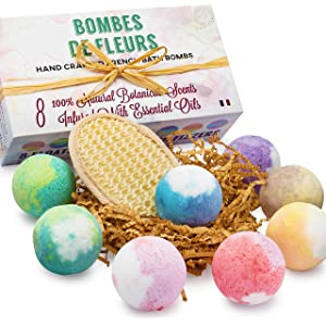 French Bath Bombs for Women with Loofah Mitt and 8-100% all Natural -