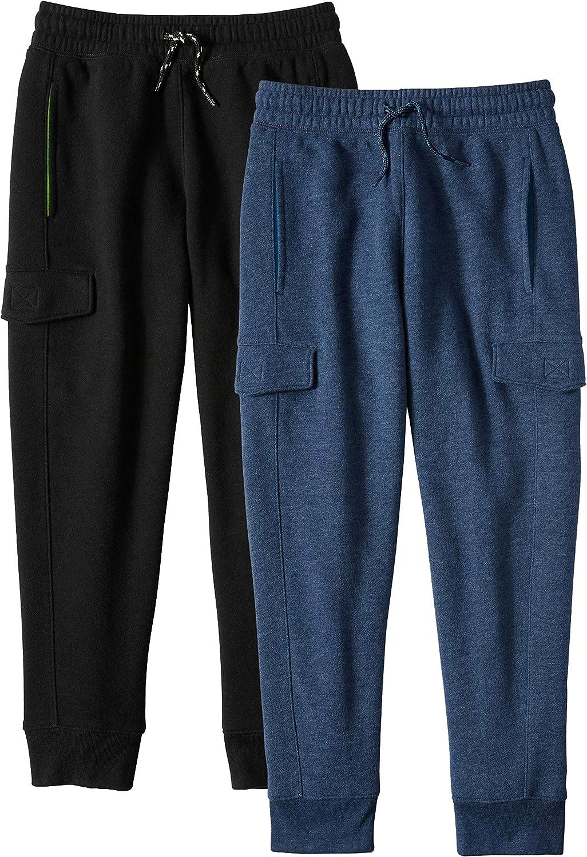 Alki'i Boys 2-Pack Ultra Soft Fleece Cargo Jogger Pants with Pockets