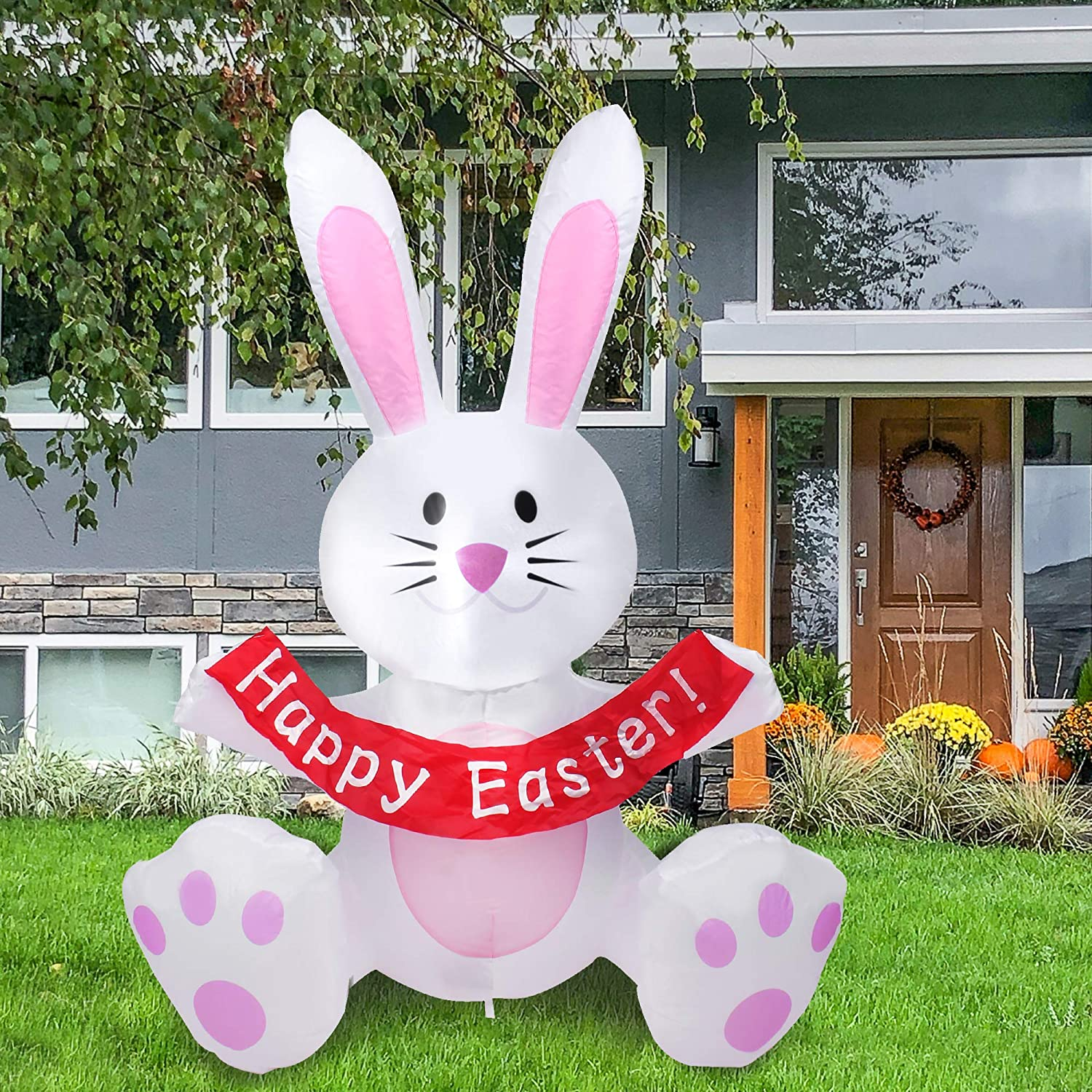 BEBEKULA 3.5 FT Lighted Easter Inflatable Happy Bunny Sitting, Holding Happy Easter Banner Blow up Yard Lawn Inflatables Home Family Outside Decor