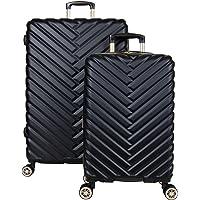 "Kenneth Cole Reaction Women's Madison Square Hardside Chevron Expandable Luggage, Black, 2-Piece Set (20"" & 28"")"