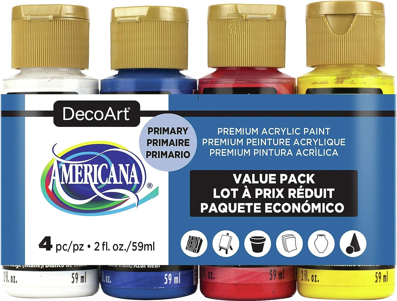 Deco Art AMERICANA ACRYL 4/PK PRIMARIO, talla única: Amazon.es: Hogar